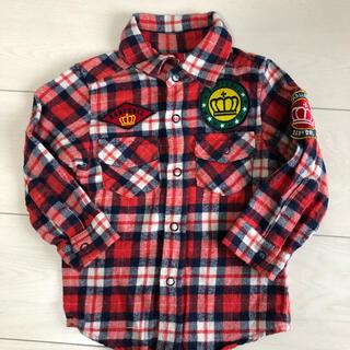 ベビードール(BABYDOLL)のベビードール チェックシャツ フランネルシャツ ワッペン 80 レッド(シャツ/カットソー)