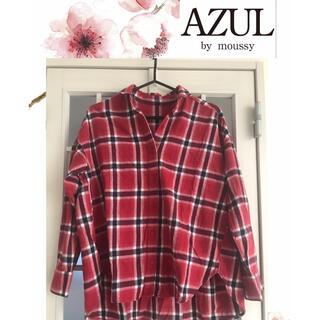 アズールバイマウジー(AZUL by moussy)のAZUL  by moussy 赤チェックオーバーサイズシャツS(シャツ/ブラウス(長袖/七分))