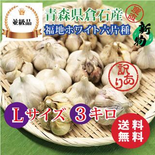 【並級品】青森県倉石産にんにく福地ホワイト六片種 Lサイズ 3kg(野菜)