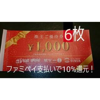 ヴィレッジヴァンガード 株主優待割引券 6枚 6,000円分(ショッピング)