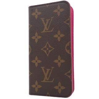 ルイヴィトン(LOUIS VUITTON)のルイヴィトン iPhoneX フォリオ ブラウン ピンク 40800061745(iPhoneケース)
