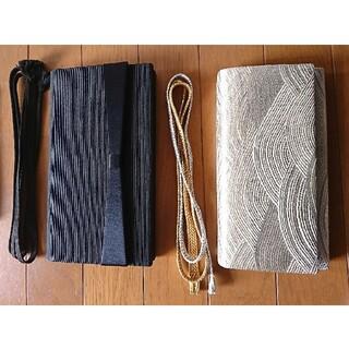 正装 フォーマル 冠婚葬祭 金銀 黒 帯締め 末広 扇子 バッグ 5点セット (ハンドバッグ)