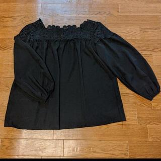 ANAYI - 襟刺繍 シフォンブラウス 黒