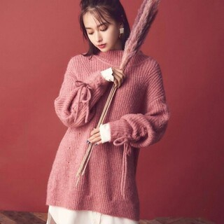 Rirandture - Rirandtureシャツレイヤードニットワンピース  ピンク