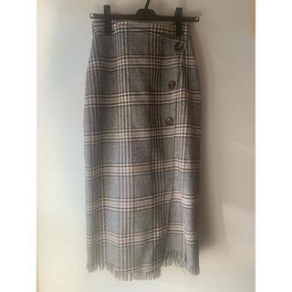 heather - 《Heather》フロントボタンチェックラインスカート