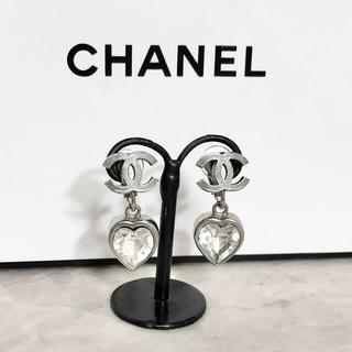 CHANEL - 正規品 シャネル イヤリング ココマーク ハート クリスタル スイング シルバー