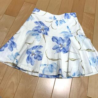 ロペ(ROPE)のROPE 花柄フリルスカート(ひざ丈スカート)