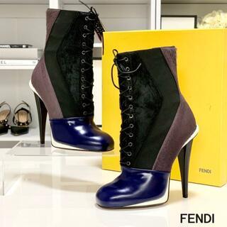 FENDI - 253 未使用 フェンディ ハラコ レースアップ ブーツ 青/黒