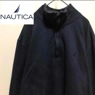 ノーティカ(NAUTICA)のnauticaノーティカ•ハーフジップ•スウェット•刺繍ロゴ•ネイビー•(スウェット)