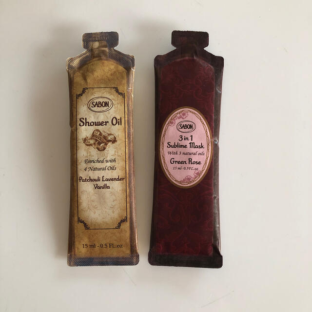 SABON(サボン)のサボン サンプル2点 シャワーオイル,ヘアトリートメント コスメ/美容のボディケア(ボディソープ/石鹸)の商品写真