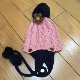 ラフ(rough)のrough ラフ お花が可愛いニットキャップ ピンク 未使用(ニット帽/ビーニー)