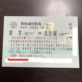 新幹線チケット 東京〜名古屋(鉄道乗車券)