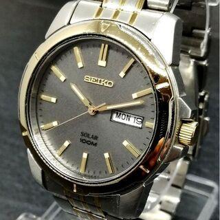 セイコー(SEIKO)のセイコー グレー ゴールド【展示品新品】ソーラー メンズ 腕時計 未使用☆(腕時計(アナログ))