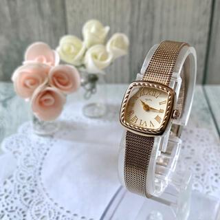 【動作OK】agete アガット 腕時計 スクエア シャンパンカラー