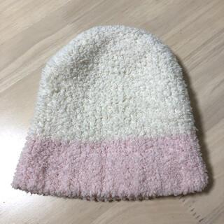 カシウエア(kashwere)のニット帽 白 ベビー カシウェア 帽子 ふわふわ ホワイト ピンク(帽子)