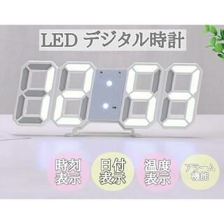 デジタル時計 置き時計 壁掛け 卓上 韓国 白 3D 目覚まし アラーム