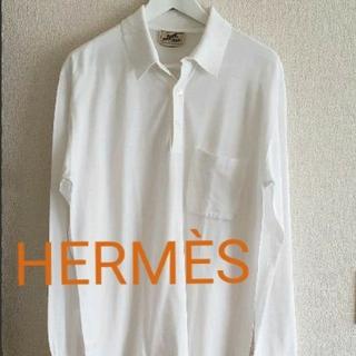 エルメス(Hermes)のHERMÈSエルメス長袖ポロシャツsizeLホワイト(ポロシャツ)