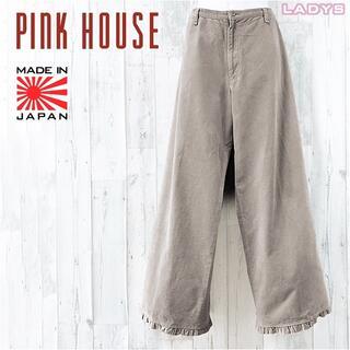 PINK HOUSE - PINK HOUSE フリル付きコーデュロイストレートワイドパンツ M L相当
