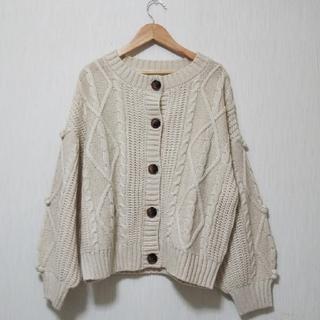 しまむら - ★美品★ざっくり編みカーディガン  sizeL