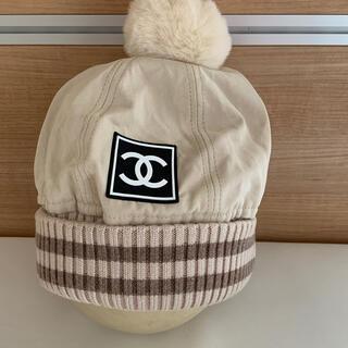 シャネル(CHANEL)のボンボン帽子  ベージュ(帽子)