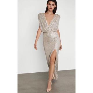 ビーシービージーマックスアズリア(BCBGMAXAZRIA)の❤️BCBGMAXAZRIA 新作新品 グレーロングワンピース ドレス(ロングドレス)