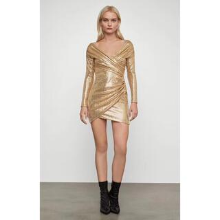 ビーシービージーマックスアズリア(BCBGMAXAZRIA)の❤️BCBGMAXAZRIA 新作新品 ゴールド ロングワンピース ドレス(ひざ丈ワンピース)