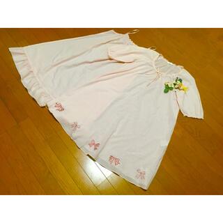 PINK HOUSE - 定価25,200円!ピンクハウスリボン刺繍シフォンミディ丈ワンピース2011年