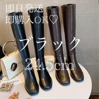 ZARA - 【最終値下】韓国 ロングブーツ  スクエアトゥ ブラック 24.5 おるちゃん
