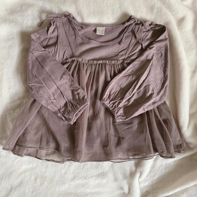 petit main(プティマイン)のチュール付きトップス 100サイズ キッズ/ベビー/マタニティのキッズ服女の子用(90cm~)(Tシャツ/カットソー)の商品写真