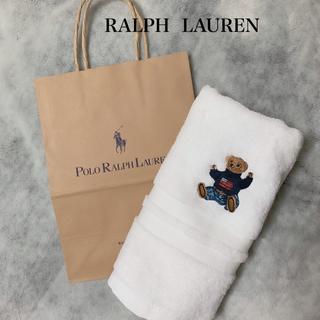 Ralph Lauren - 新品 ★ ラルフローレン ホワイト ポロベア フェイスタオル  手さげ紙袋付き