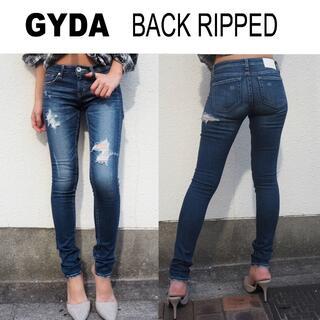 GYDA - GYDA BACK RIPPED スキニーデニムパンツ☆S約68cm