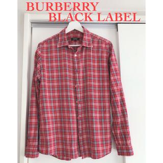 バーバリーブラックレーベル(BURBERRY BLACK LABEL)の【訳あり】バーバリーブラックレーベル/チェックシャツ/赤/レッド/サイズ3/L(シャツ)
