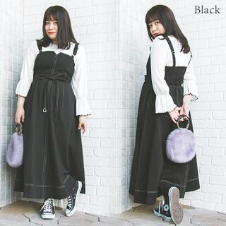 clette - 大きいサイズ clette 配色ステッチジャンスカワンピース 4L ブラック