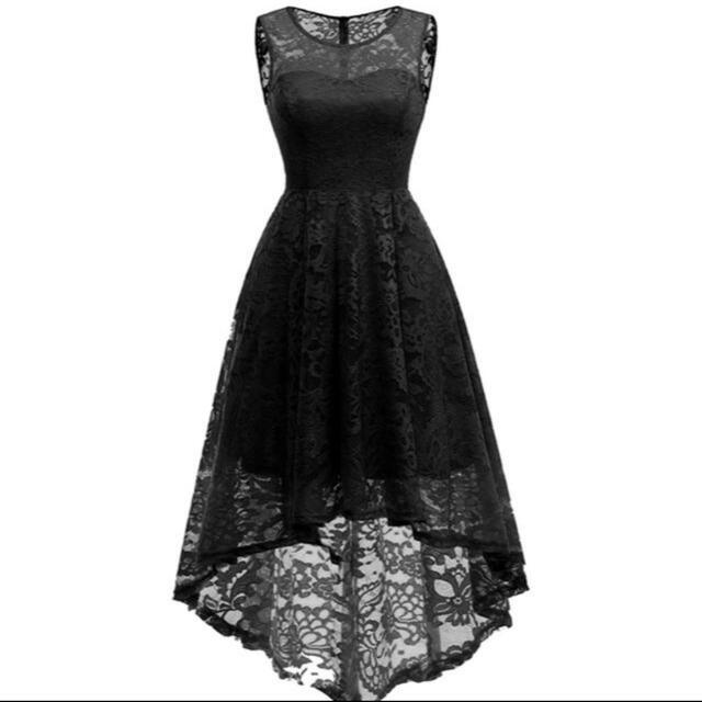パーティードレス ブラック フィッシュテール 新品 レディースのフォーマル/ドレス(ミディアムドレス)の商品写真