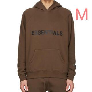 FEAR OF GOD - Essentials Exclusive Brown Logo Hoodie M