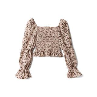 GRL - GRL ダルメシアン柄ショートブラウス ベージュ 新作 人気 韓国ファッション