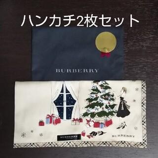 BURBERRY - 【新品・レア】BURBERRY ハンカチ 女の子 刺繍(クリスマス)