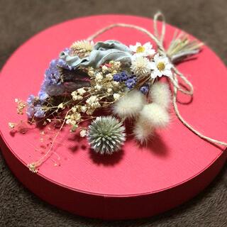 [お値下げ]小さなスワッグ ホワイト&パープル ナチュラル  花材 素材 T(ドライフラワー)