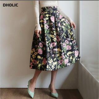 dholic - シルキーフローラルスカート