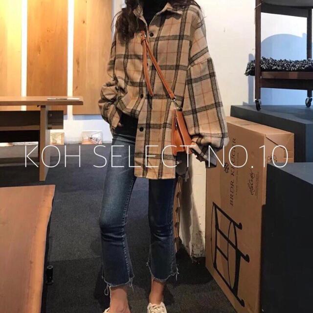 dholic(ディーホリック)の【NO.10】カフェカラー オーバーサイズチェックシャツ 韓国服 レディースのトップス(シャツ/ブラウス(長袖/七分))の商品写真