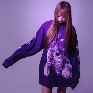 ミルクボーイ(MILKBOY)のTRAVAS TOKYO トラバストーキョー  くま ビッグロングTシャツ紫 (Tシャツ/カットソー(七分/長袖))