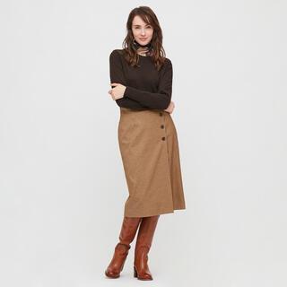 UNIQLO - サイドボタンチェックラップスカート