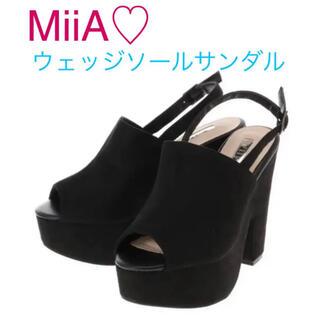 MIIA - MiiA♡ ストラップウェッジサンダル 黒 スウェード