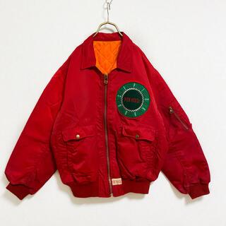 ピンクハウス(PINK HOUSE)の【80s】ピンクハウス 中綿 フライトジャケット レディース XL 赤 古着(ブルゾン)