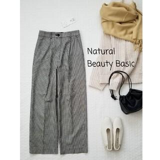 ナチュラルビューティーベーシック(NATURAL BEAUTY BASIC)の新品✨NATURALBEAUTYBASIC 洗える チェック&チドリワイドパンツ(カジュアルパンツ)