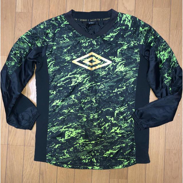 UMBRO(アンブロ)のumbro ピステ上 黒×グリーン 中綿 Sサイズ スポーツ/アウトドアのサッカー/フットサル(ウェア)の商品写真