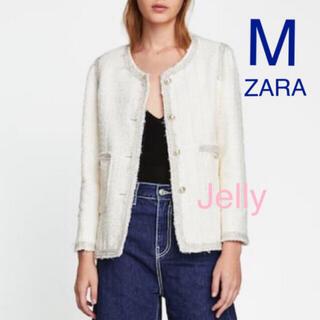 ザラ(ZARA)の【新品】ザラ ツイードジャケット 白(ノーカラージャケット)