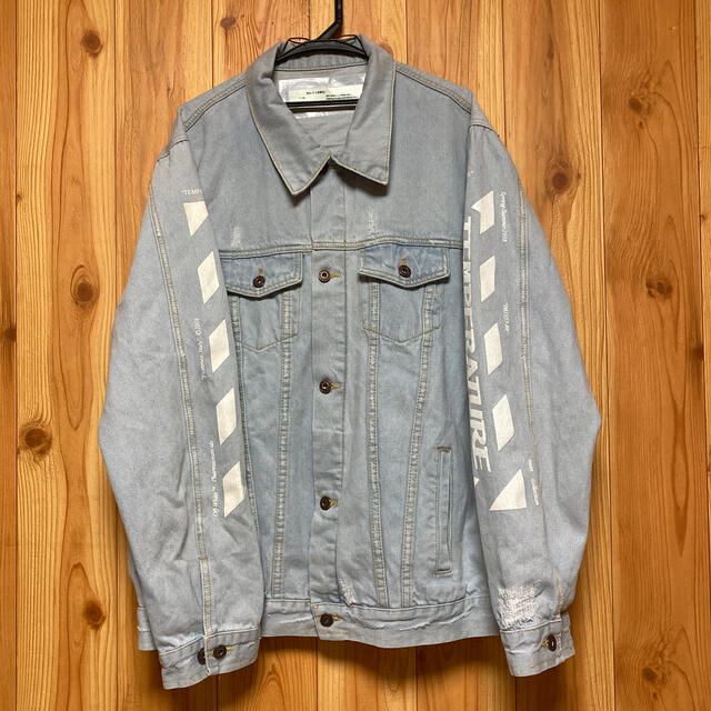 OFF-WHITE(オフホワイト)のオフホワイト  ビッグプリント デニムジャケット Gジャン  メンズのジャケット/アウター(Gジャン/デニムジャケット)の商品写真