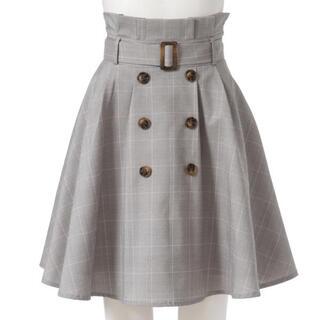 ユメテンボウ(夢展望)のベルト付きチェック柄トレンチスカート(ミニスカート)