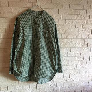 PAR ICI - par ici パーリッシィ ギンガムチェックのスタンドカラーシャツ みどり